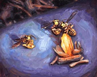 Original Still Life Oil Painting of Bees, ' The Third Wheel,'  Framed