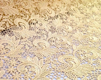 Gold Paisley Guipure French Venice lace