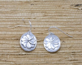 Silver primrose earrings, sterling, French wires, February flower of the month, February birth month flower
