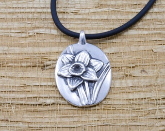 Silver daffodil pendant, sterling, rubber cord, March flower of the month, March birth month flower