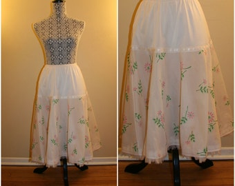 1950's off-white flocked pink floral petticoat