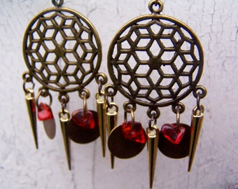Metal bronze/gold and carnelian earrings