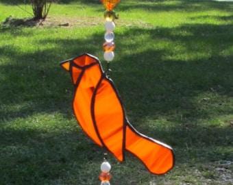 Orange Stained Glass Bird Spinner, Stained Glass, Orange Birds (SP1019)