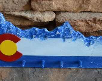 Colorado Flag Sculpted Wall Mounted Key Holder
