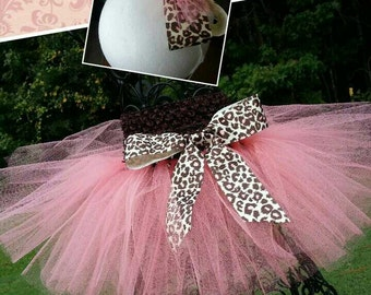 Handcrafted Peach Colored Tulle Tutu with Leopard Print Bow