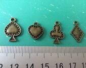 20 pcs poker Charms Pendant antique Bronze charm pendant Jewelry Findings 11X7mm B027