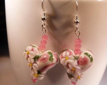Lampwork heart earrings