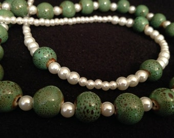 Playful Pearls and Green beads Necklace