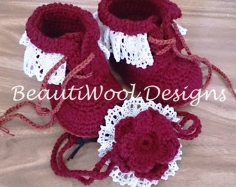 Pure Wool Baby Girls Lace-up Boots with Matching Headband