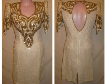 Ivory and gold beaded dress #326