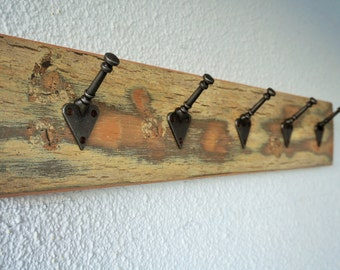 Reclaimed Wood Medium 5 Peg Coat Rack Rustic Shabby Chic Style by The Fine Wooden Article Company