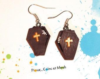 Coffins, grave, halloween - earrings