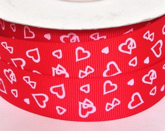 "7/8"" Red with Hearts Grosgrain Ribbon 3 yards - 7/8"" Valentines Grosgrain Ribbon - Red with Hearts Grosgrain Ribbon 3 yards"