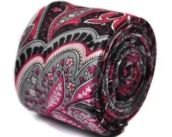 black paisley skinny wool linen tie by Frederick Thomas FT1644
