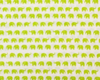 Fumika Oishi green elephants - Fat Quarter