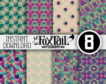 Quilted Kaleidoscope Digital Paper Pack - Kaleidoscope Paper - Kaleidoscope Scrapbook Paper - Kaleidoscope Background - Jewel Tone Paper