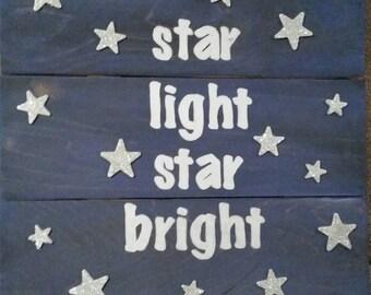 Star Light, Star Bright Handpainted Baby Room Sign