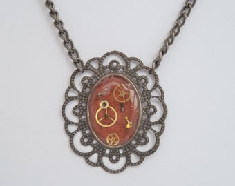Red Upcycled Necklace with Watch Parts