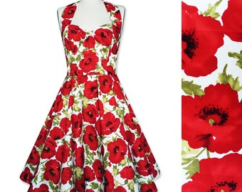 Pin Up Dress Summer Dress Floral Dress Red Poppy Dress Flower Dress Sun Dress Holiday Dress Retro Swing Dress Bridesmaid Dress Party Dress