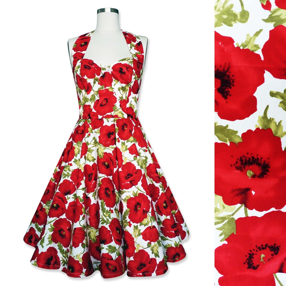 Pin Up Dress Summer Dress Floral Dress Red Poppy Dress Flower