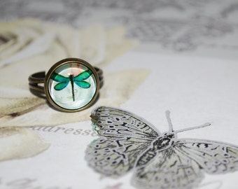 Ring adjustable green dragonfly