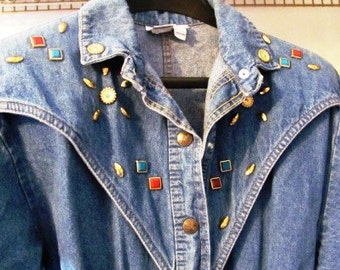 Vintage Denim Studded Padded Shoulders One Piece Jump Suit by Dream