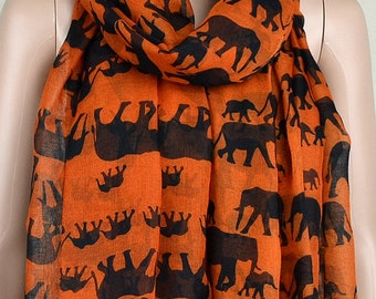 Orange cotton leisure scarf, lucky elephant print scarves, shawls, collar