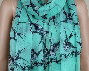 Mint green cotton scarf, black swallow printed scarf, spring and autumn scarf, shawl