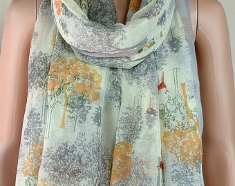 Cotton leisure scarf, forest style of animal and plant design printed scarf, shawl, collar