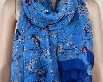 Blue cotton scarf, the branches of the bird printed scarf, Paris yarn scarves, shawls, collar