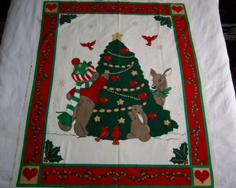 Fabric Country Christmas tree with animals mini quilt, wallhanging,100% cotton vintage fabric