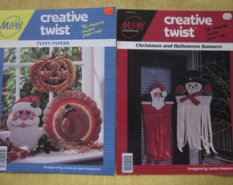 Creative Twist,Puffy Papers,Christmas and Halloween Banners,twisted paper craft booklets,ghost,witch,Santa,snow man,holiday