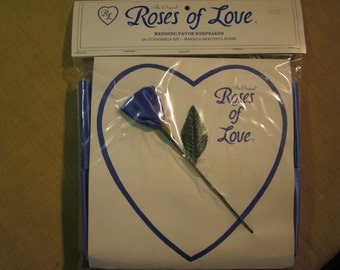 Roses of Love, wedding favor kit, 50 make yourself roses, royal blue satin fabric, made in Goldsboro NC