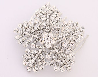 Snowflake Hair Comb Winter Wedding Bridal Hair Comb Accessories Silver Snowflake Wedding Jewelry Accessory Hair Piece