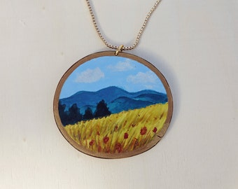 Mountain Landscape Necklace, Hand Painted on Aspen Wood