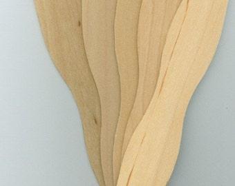 Wooden Wavy Paddle Fan Sticks - Pack of 25