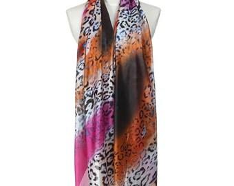 Womens Scarf, Leopard Print Scarf, Purple Scarf, Floral Print Scarf,  Fashion Scarf, Chiffon Scarf, Voile Scarf, Cotton Scarf