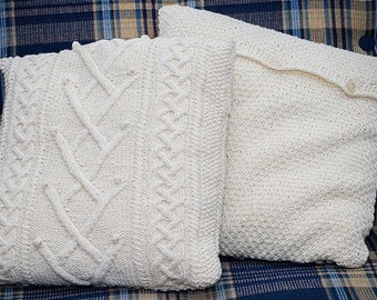 Cable knit pillow cover creamy-natural. Decorative pillow. Knit home decor 45x45cm /18x18 inches/. Sweater pillow. Throw pillow.