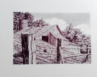 """Original Pen Ink """"EAST TENNESEE"""" Black & White Original signed Illustration of Out Building Barn / Landscape"""
