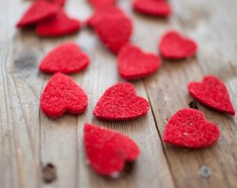 50 wool felt hearts