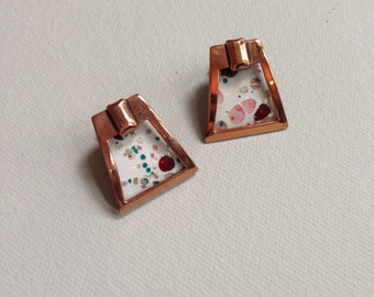 1950's Signed MATISSE White and Multi Colored Enamel and Copper Clip On Earrings
