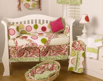 Pink and Green Dot and Paisley 4 Pc Crib Set. FREE SHIPPING