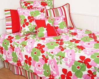 Pink and Green Floral Twin Bedding Set FREE SHIPPING