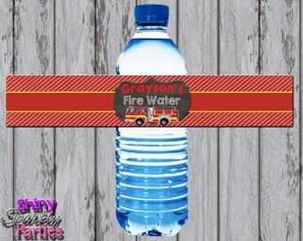 Printable FIRETRUCK WATER Bottle LABELS - Firefighter Water Bottle Wraps - Firetruck Water Bottle Labels - Firetruck Water Bottle Wraps