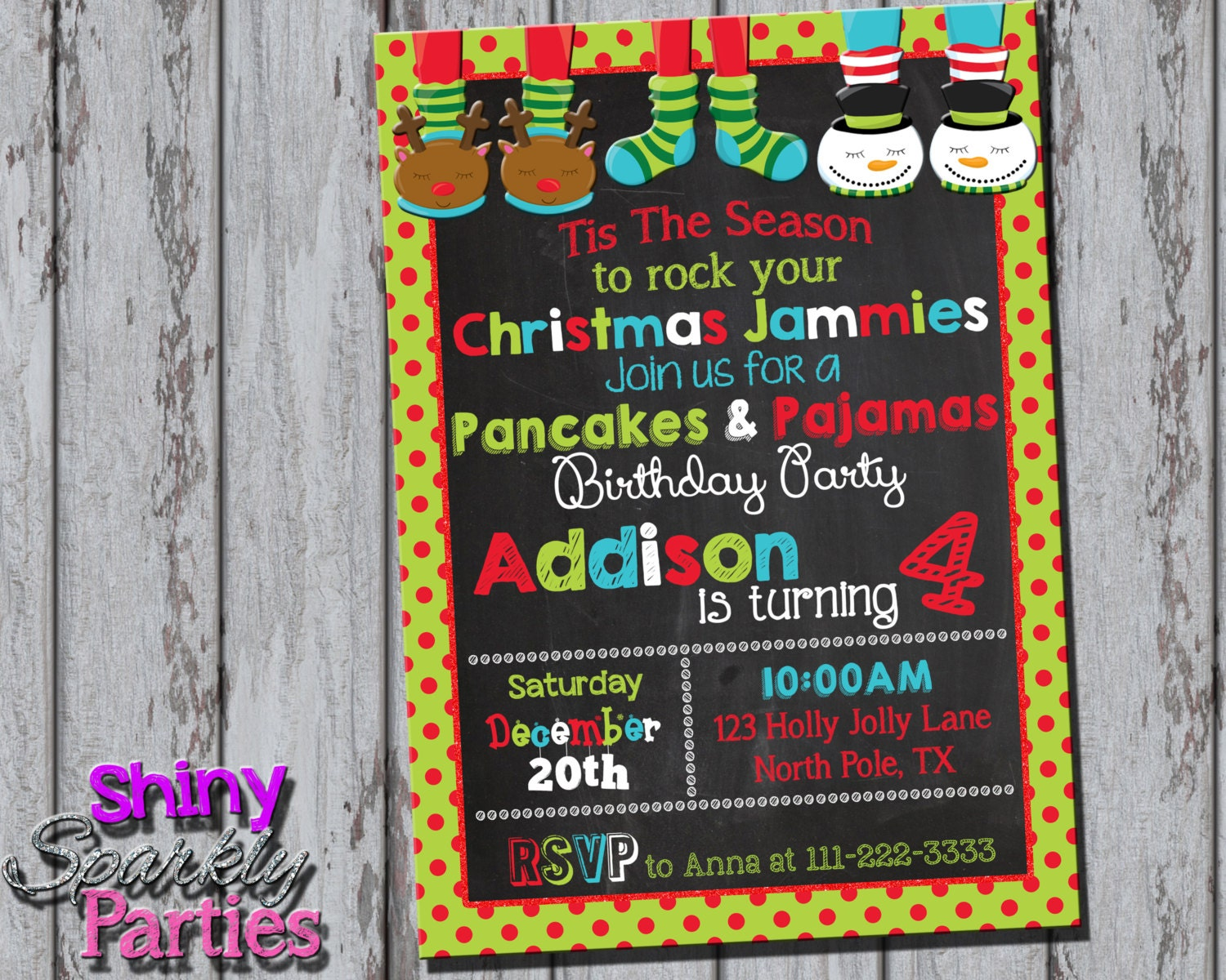 CHRISTMAS PANCAKES And PAJAMAS Party Invitation Pancakes And