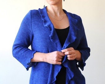 Blue linen jacket with shawl collar, scalloped hem, three-quarter length sleeves and a curved tail back finish, in different colours