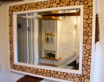 Large hand made branch and twig sectioned mirror