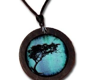 Slate necklace featuring an Acacia Tortillis Tree