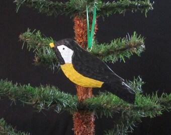 Hand Carved Wood Chickadee Ornament
