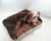 Cozy Cave Flannel Canvas Pet Bed with Blanket Attached SMALL Dog Cat